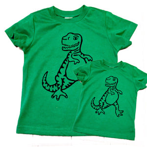 Green dinosaur Tyrannosaurus rex matching Father's Day Tshirt outfit son men's kid's