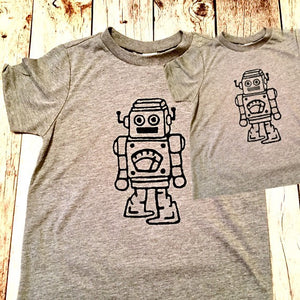 Father's Day Robot Matching Grey Tshirt set men's boys kids