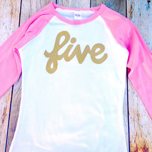 five long sleeve Pink and white baseball raglan with gold glitter girls 4th Birthday shirt sparkle four