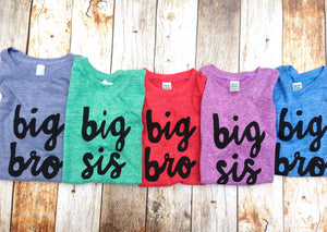 Sibling newborn photography big bro or big sis sibling shirts for birth announcement hospital outfit with newborn Colors- red, blue, grey, mint, purple- boys girl kids shirt