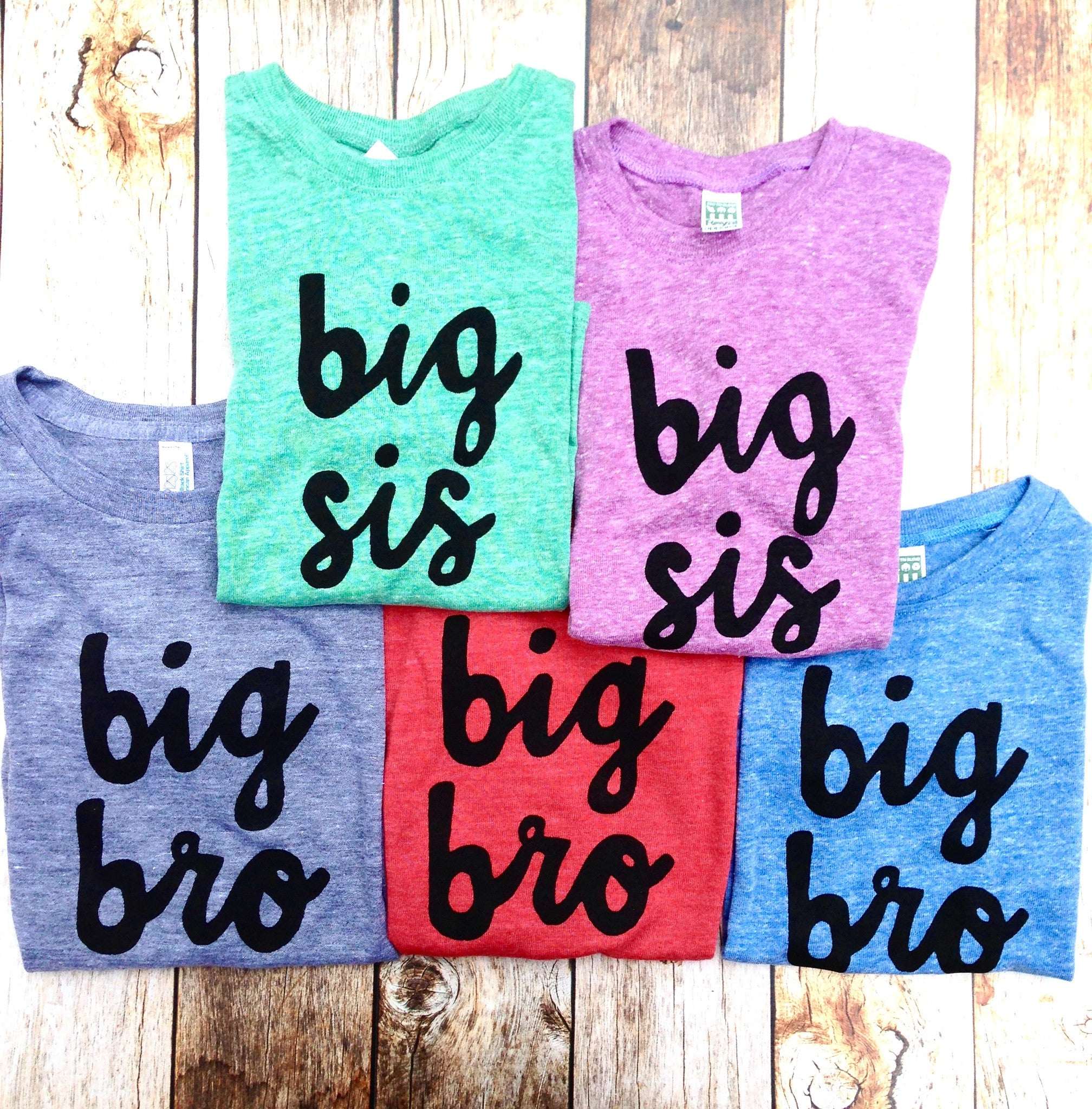Eco organic newborn photography big bro or big sis sibling shirts for birth announcement hospital outfit with newborn Colors- red, blue, grey, mint, purple- boys girl kids shirt