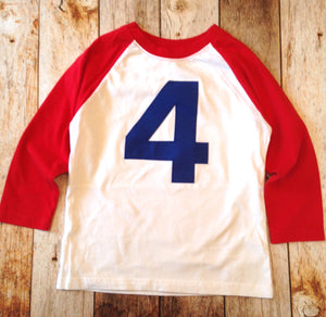Red and white with navy 4 baseball sports raglan boys 4th birthday shirt with navy one kids birthday theme first party