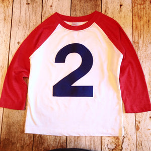 Red and white with navy 2 baseball raglan boys 2nd birthday shirt with navy one kids birthday theme first party