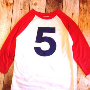 Red and white with navy 5 baseball sports raglan boys 5th birthday shirt with navy one kids birthday theme first party