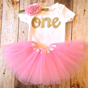 4 piece tutu set, girls 1st birthay outfit, pink and gold birthday set, girls first birthday outfit- gold mocassin shoes, onesie, headband, pink tutu