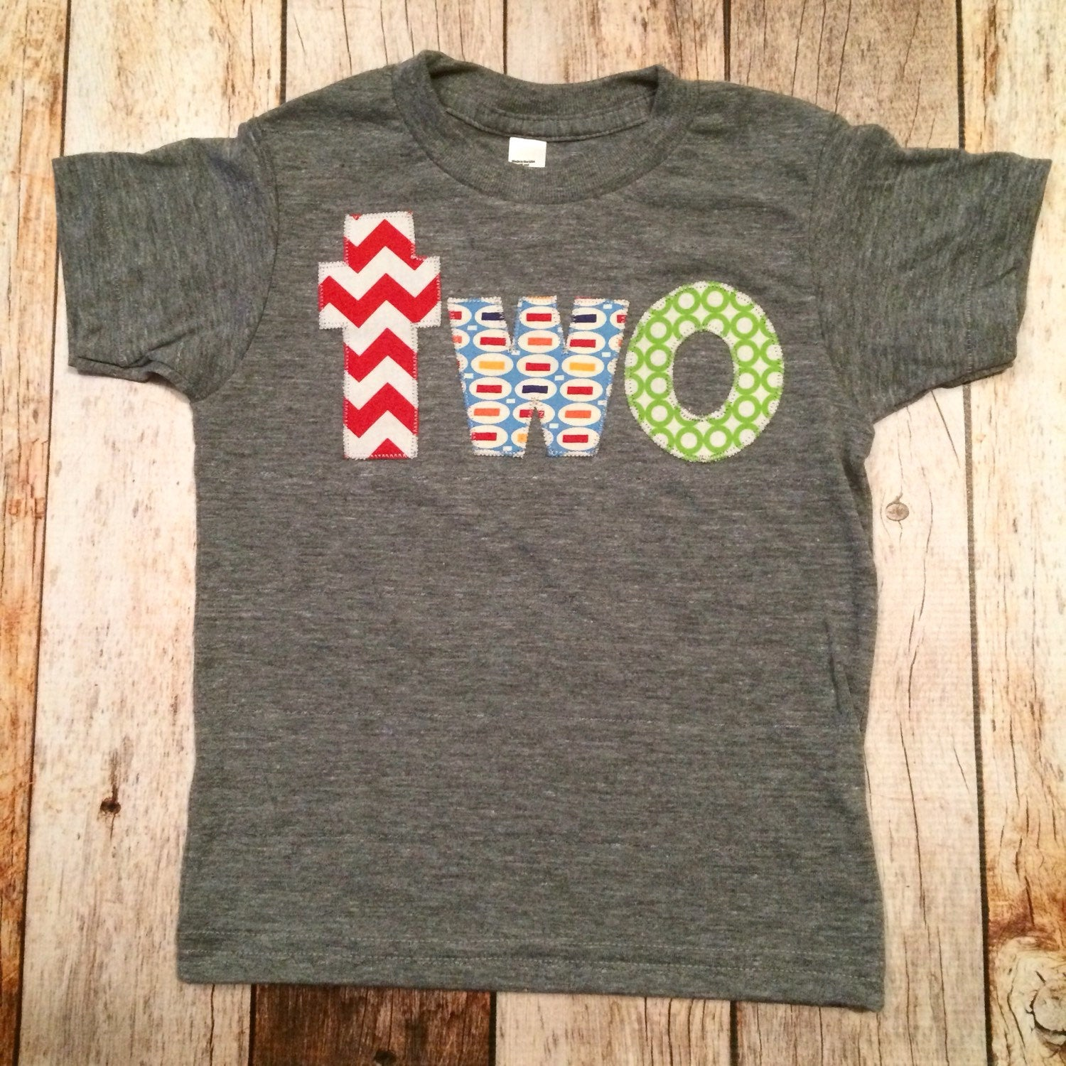 Fan Photo Birthday Shirt for 2 year old 2nd Birthday lowercase two with red chevron, pez and green circles