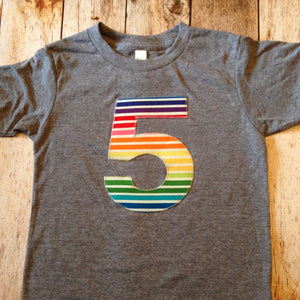 Rainbow Stripes Short Sleeve 5th number 5 five Birthday Shirt Triblend Grey Hip Birthday Tshirt Any Number 1 2 3 4 5 6 7 8 9