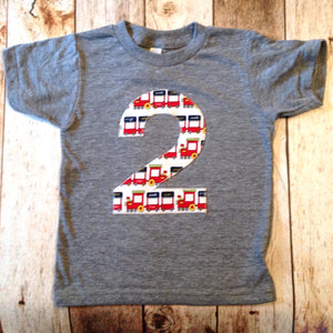 Train birthday shirt Boys Birthday Choo choo Trains ANY Number 1 2 3 4 5 6 year old Birthday Shirt locomotive toy caboose tank engine cake
