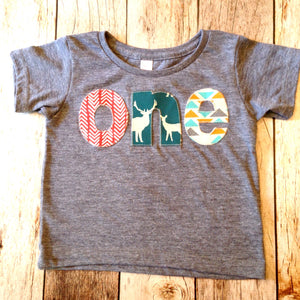 Birthday Shirt one shirt for boys 1st 1 year old wood deer elk buck tee pee wild and free animals forrest teal orange brown triangles