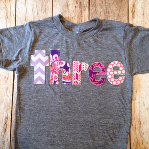 Purple pink birthday outfit 3 year old Girls 3rd Birthday shirt Three shirt with girly damask, flowers and modern prints in purple and pink