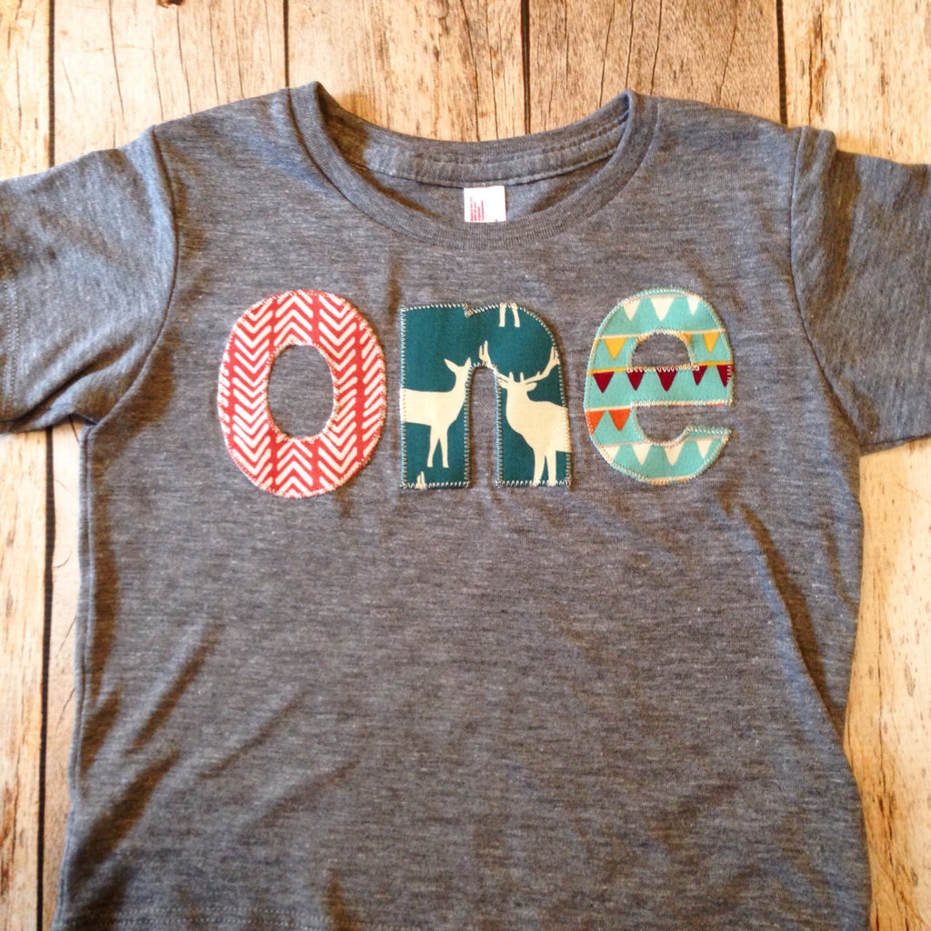 Birthday Shirt one shirt for boys 1st 1 year old wood deer elk buck tee pee wild and free animals forest teal orange brown triangles