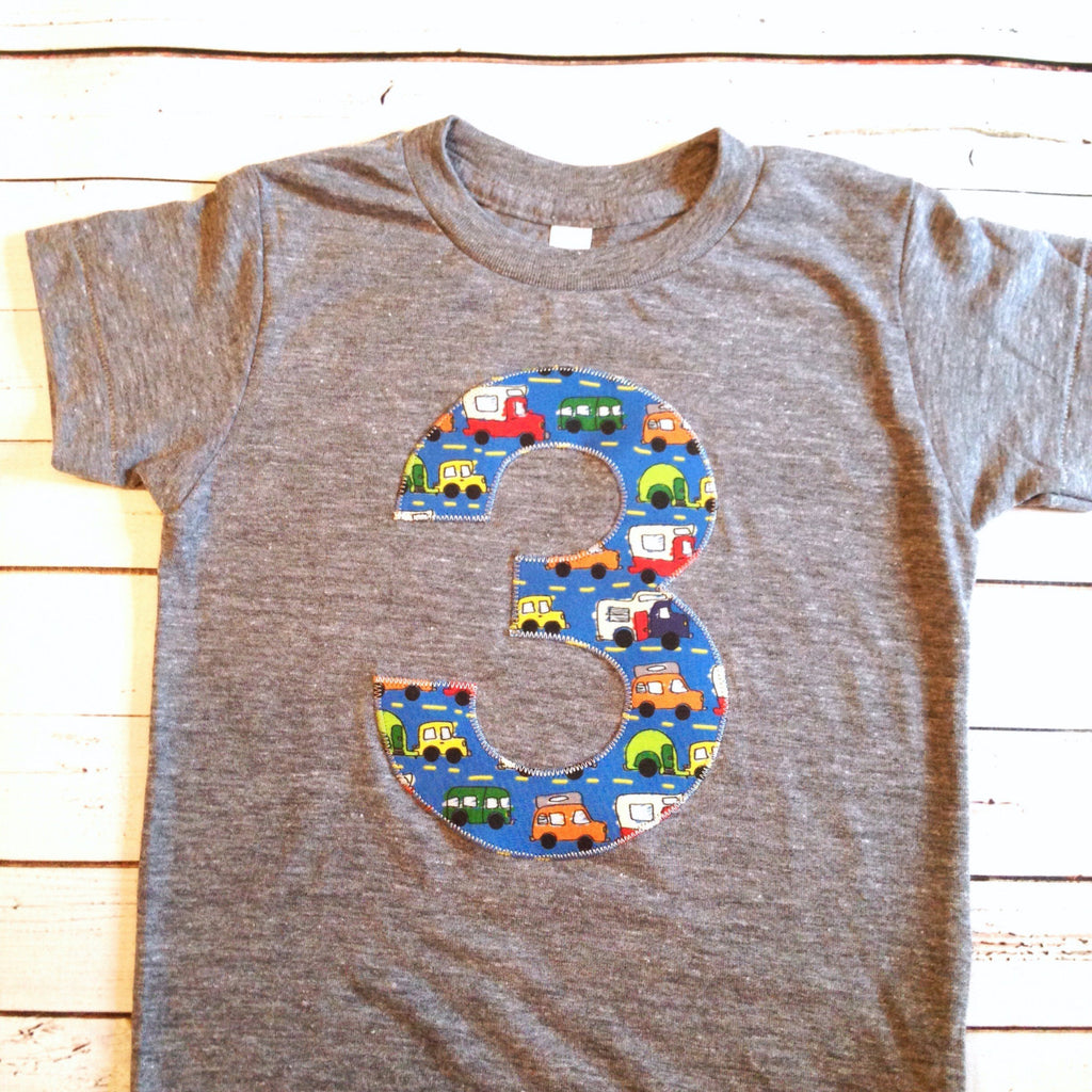 Blue Trucks Birthday Shirt Any NUMBER On TShirt Kids 1 2 3 4