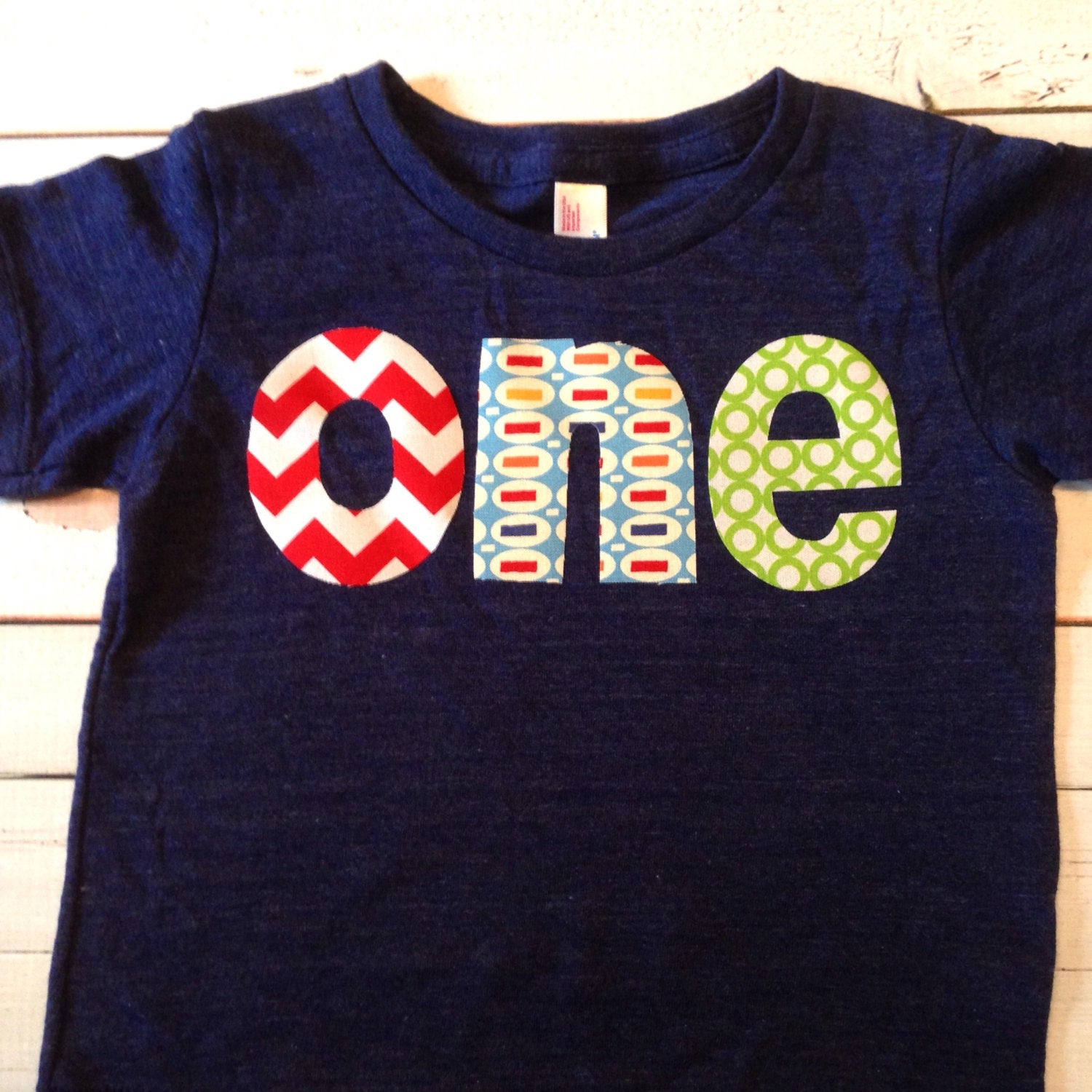 Ready to ship size 12/18 months triblend indigo one lowercase with chevron, pez and green circles for boys 1st Birthday Shirt