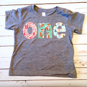Fox Birthday Shirt onderland Deer tee pee one shirt for boys 1st Birthday Shirt 1 year old wood deer animals forest teal coral bear party