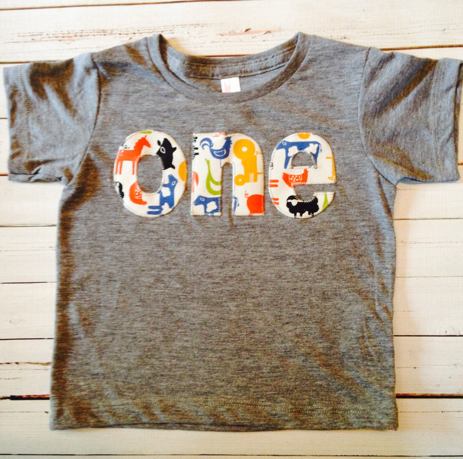 one Farm Birthday Shirt- Boys Birthday T Shirt - Tractors and Animals Cow Sheep Pig Chicken Rooster yellow red blue birthday outfit cake