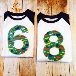 8th Bricks birthday shirt any number Fabric Birthday Shirt Navy and White Raglan sports jersey 5 6 7 8 9 year old birthday shirt building