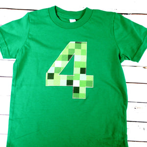 Fourth Be mine tnt birthday shirt green 8 pixel video game craft fair four 4 4th 5th 7th 8th 9th birthday boy tnt water land hacks 6 7 8 9