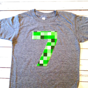 Green skins birthday shirt craft made tnt Mine  green 8 pixel video game older kids 7th 8th 9th birthday boy tnt water land hacks 6 7 8 9