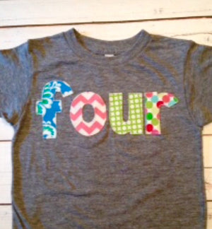 Girls four birthday shirt damask pink chevron green circles dots  girls Triblend Grey Hip Birthday Shirt 4th 4 year old flowers fourth party