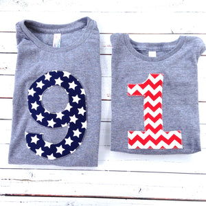 Any Big Number Birthday Shirt boys 1st birthday red white blue American Flag USA America stars stripes Triblend grey 4th of July Military