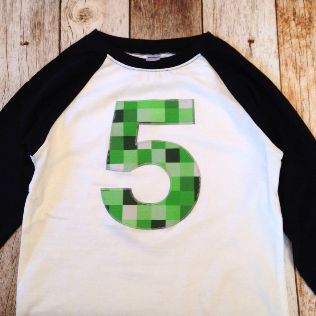 5 Mine pixel birthday shirt craft made black baseball raglan ANY NUMBER green 8 pixel video game Fabric Birthday Shirt 7th 8th 9th tnt 6 7 8