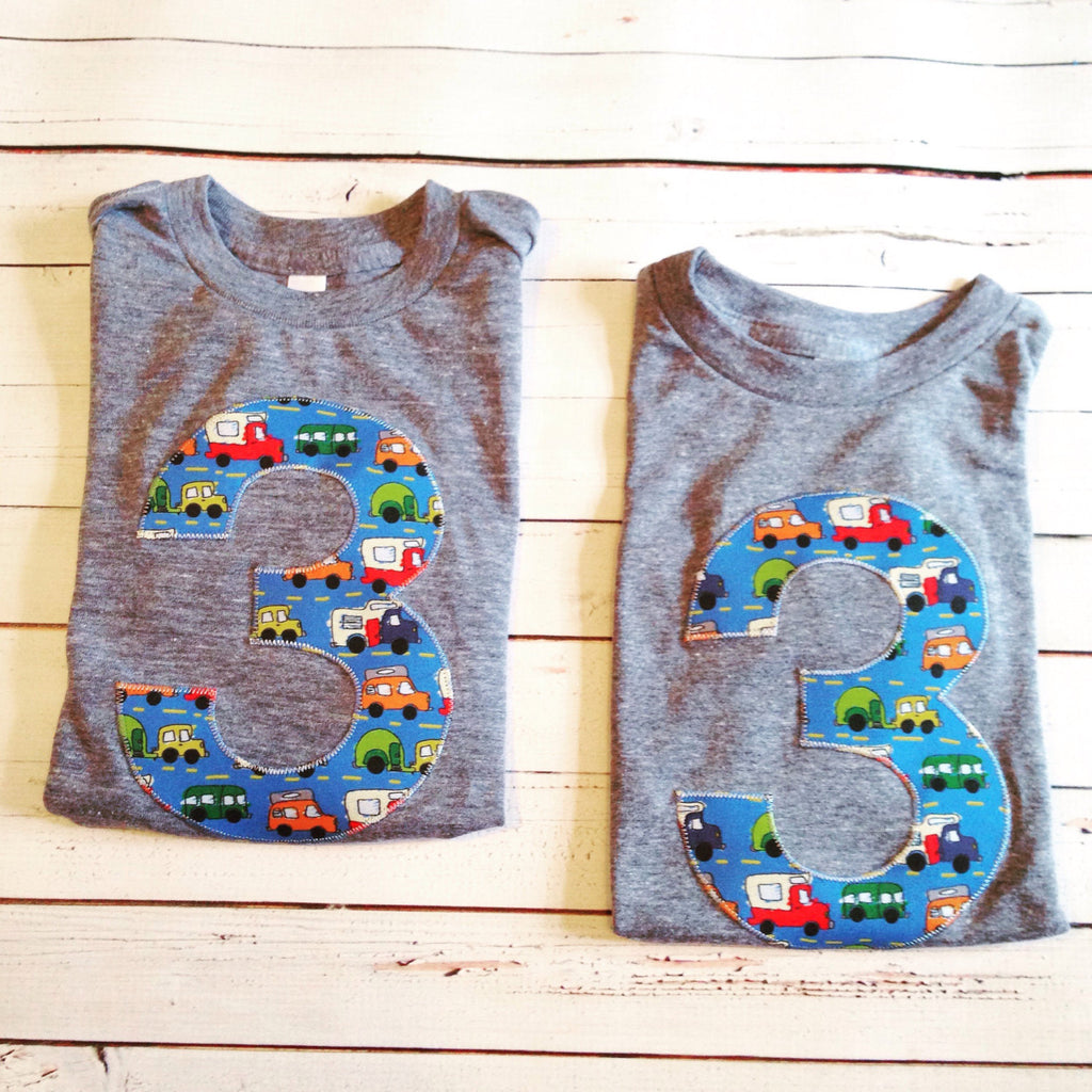 Cars trucks birthday shirt Any NUMBER on Birthday tShirt Birthday Shirt kids 1 2 3 4 5 6 7 8 9 triblend grey cars campers trucks on blue