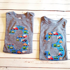 Blue trucks birthday shirt Any NUMBER on Birthday tShirt Birthday Shirt kids 1 2 3 4 5 6 7 8 9 triblend grey cars campers trucks on blue