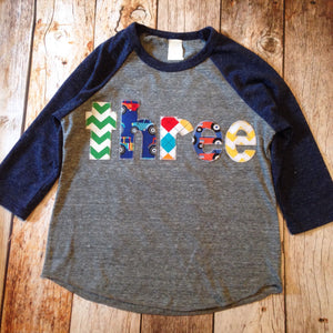 Tractor farm barn animals Heathered navy and grey Birthday Shirts Boys Birthday Shirt 3rd Birthday three Year Old  3 year old raglan sports