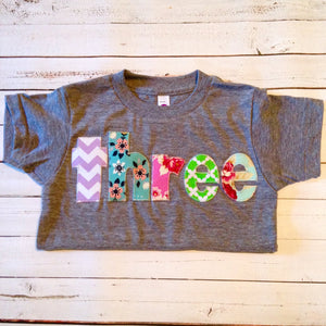 Flowers girly girls birthday outfit roses Purple pink green aqua lavender birthday outfit 3 year old Girls 3rd Birthday shirt Three shirt
