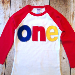 Red yellow blue Birthday shirt Red and White Raglan Shirt 1st Birthday Shirt Boys one primary colors one year old navy blue 1 birthday