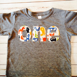 Tractor barn Birthday Shirt farm Boys 1st Birthday one first Tractors and Animals Cow Sheep Pig Chicken Rooster yellow red blue birthday
