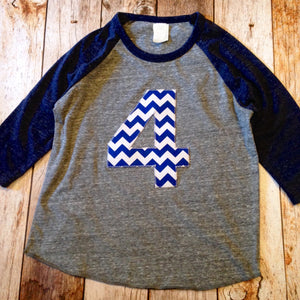 Boys 4th Birthday Navy and Grey Raglan with Big Royal Blue chevron 1 2 3 4 5 6 7 8 9