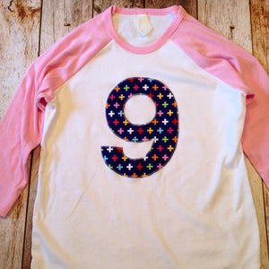 Nine 9th Pink white Navy Birthday Shirt ANY NUMBER sports baseball rainbow swiss cross fuchsia Raglan Birthday girls kids 1 2 3 4 5 6 7 8 9