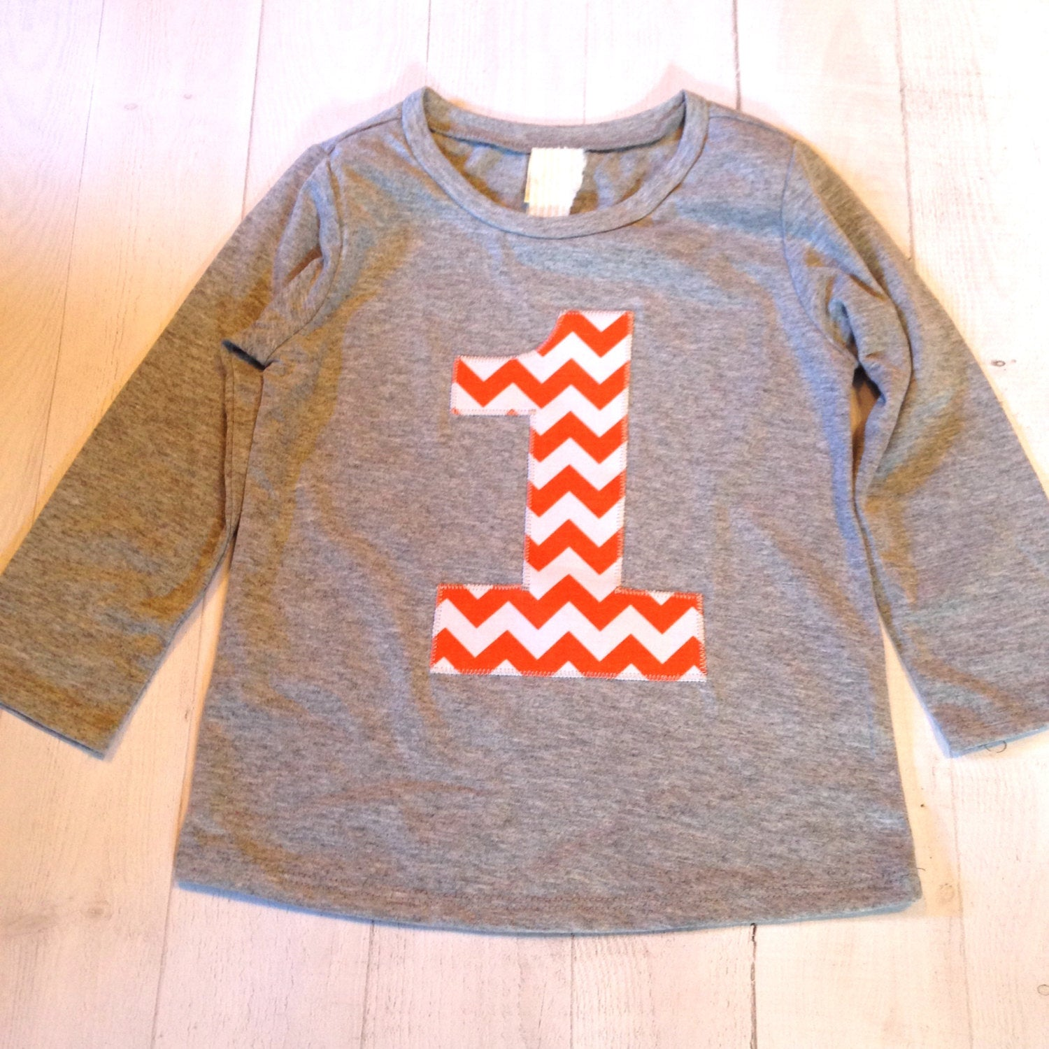 Dinosaur Orange Chevron Birthday Shirt Long Sleeve heather grey Biggie Chevron Number or Any Birthday 1 2 3 4 5 6 7 8 9 cotton 2nd two boys girl