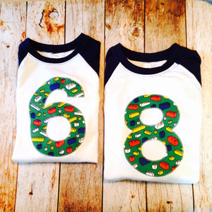 Building Bricks birthday shirt any number Fabric Birthday Shirt Navy and White Raglan sports jersey 5 6 7 8 9 year old birthday shirt green