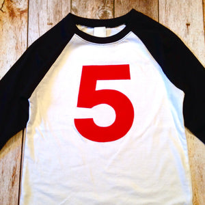 5 boys Birthday shirt Black and White Baseball Raglan red 5- Birthday T Shirt- 1st, 2nd, 3rd Any Birthday 1 2 3 4 5 6 7 8 9 sports