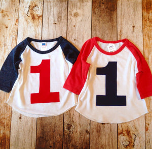 Red and White Birthday Shirt Navy 1 applique Boys 1st First One Year Old Birthday 1 year old sports raglan