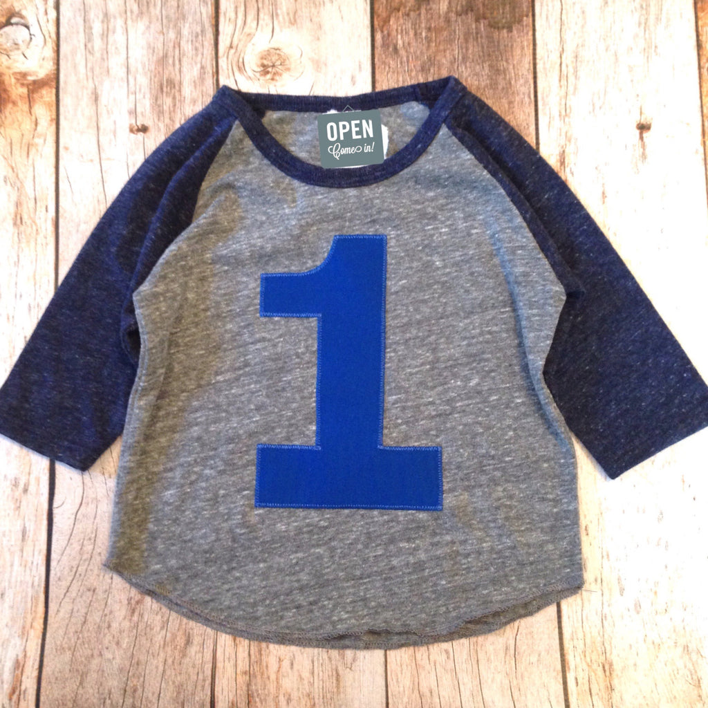 Heathered navy and grey Birthday Shirts Boys Birthday Shirt 1st Birthday First One Year Old Birthday 1 year old Birthday sports raglan