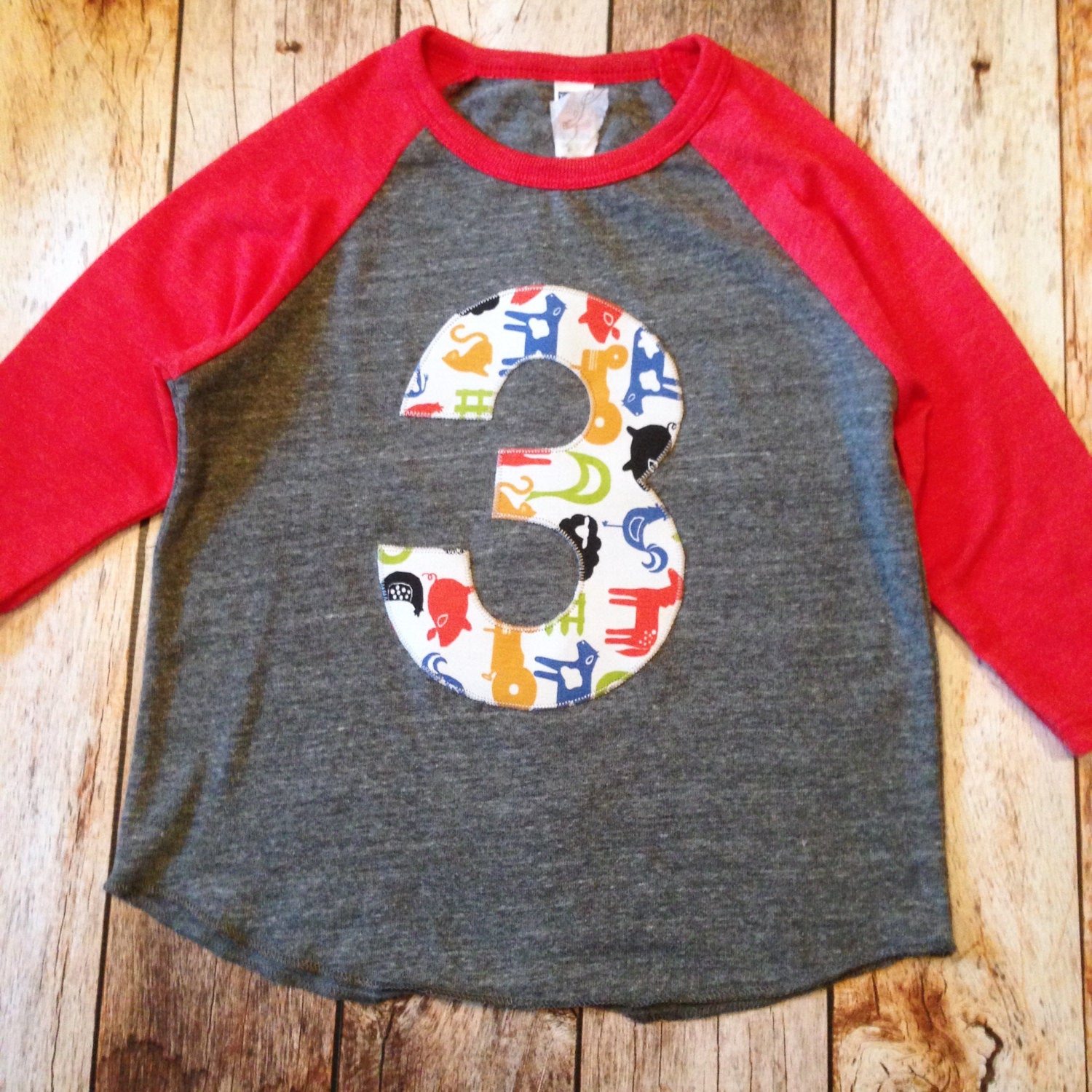 3 Farm Barn Birthday Shirt Eco Heathered Red Grey Boys 2 Old Cow Print Hide Bandana Horse Animal Tractor Two 2nd 1 4 5 6 7