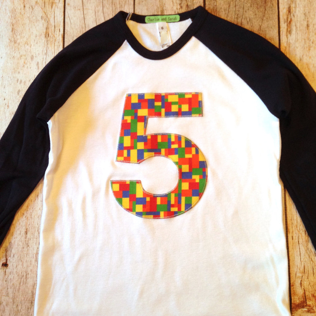 5th construction blocks Birthday shirt Building Bricks Birthday Shirt Navy and White Raglan boys toys party supplies 3rd 4th 6th 7th stem