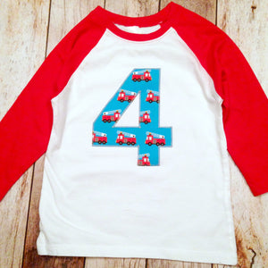 Fire Truck Boys Birthday Shirt 3 on a Red and White Raglan 1st, 2nd, 3rd, 4th, 5th