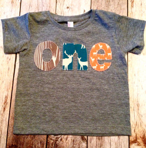 Birthday Shirt one shirt for boys 1st Birthday Shirt 1 year old wood deer elk buck tee pee wild and free animals forrest teal orange brown