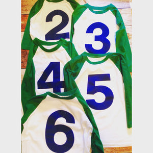 Any Number Kelly Green White 5th birthday shirt Baseball Raglan Navy blue number boys Birthday Shirt 1st 2nd 3rd 4th 5th 6th Any Birthday 1