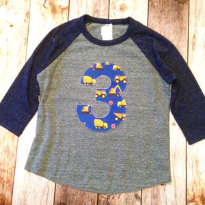 Truck Birthday outfit Navy and Grey Baseball Raglan 3rd Birthday 3 construction trucks digger dumptruck loader Fabric boys Shirt