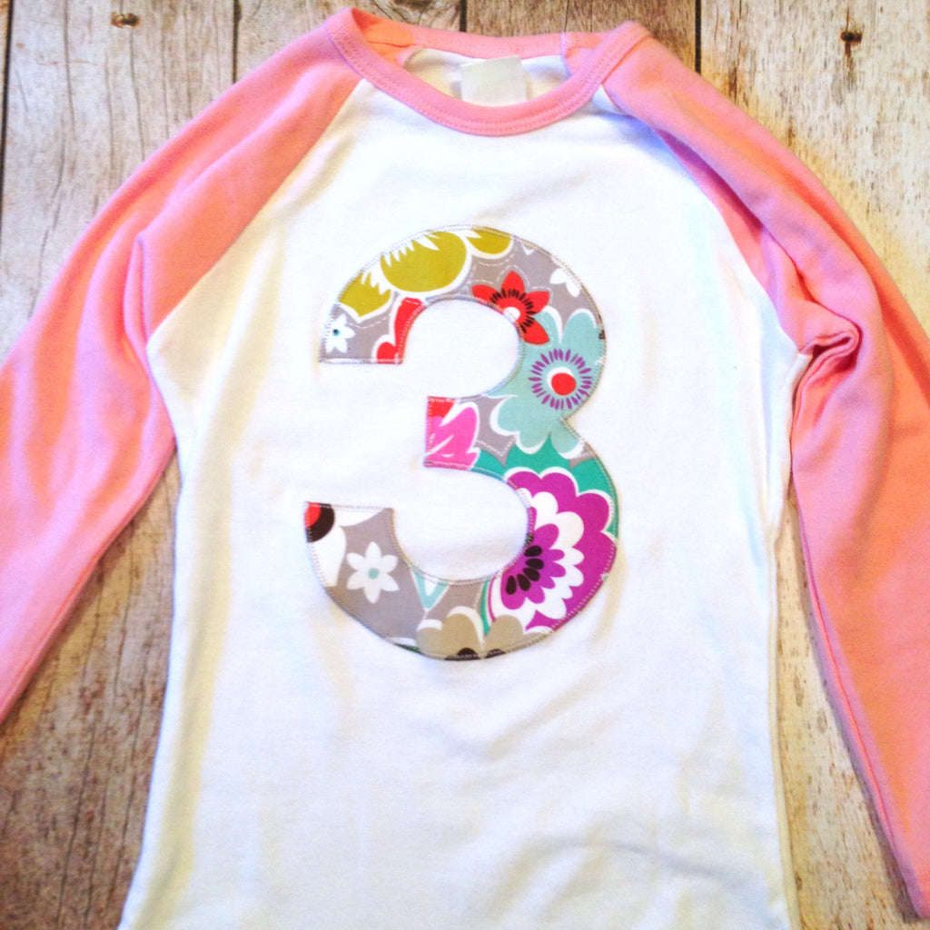 Girls 3rd Birthday Shirt For Three Year Old Modern Flower 3 On Pink And