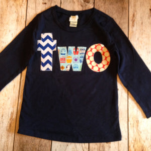 Ready to Ship size 24 months -one Birthday Shirt for boys 2nd Birthday navy long sleeve train shirt