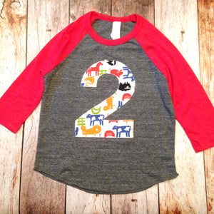 3 Farm barn birthday shirt Eco Heathered red grey Boys 2 old Birthday cow print hide bandana horse animal tractor two 2nd 1 2 3 4 5 6 7