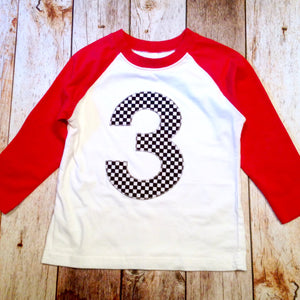 Race Car Birthday Shirt Checkered Flag Boys 3 On A Red And White Raglan