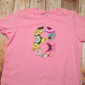 Modern Flower Pink Birthday Shirt Light Girls Years Old 8th Party 100
