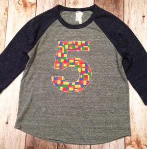 5th five bright Building Bricks birthday shirt Eco navy grey Boys Birthday Shirt 2 3 4 5 6 7 8 Year Old  Birthday sports raglan basball